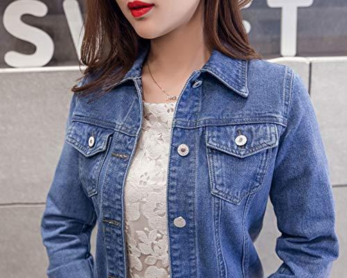 Blu Zongsena Con Pulsante Denim Lunga Cappotto Donna Manica Giacca Jeans Lavato Di qR7pOUnq