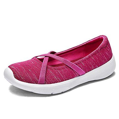 SHINIK Zapatos de mujer Nuevo Slip On Zapatos de punto perezosos transpirables Talón plano Zapatos de mujer de boca poco profunda Zapatos ultraligeros de gran tamaño Do