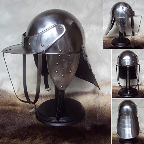 QUALITYMUSICSHOP English Civil War Lobster Pot Helmet 18 Gauge for Re-Enactment LARP & Decoration