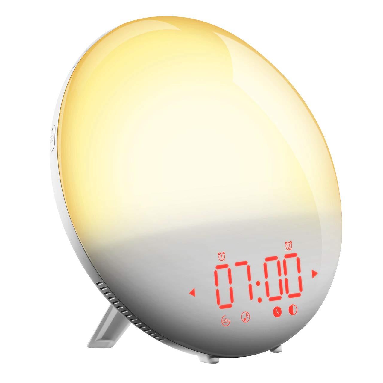 Wake-Up Alarm Clock, PICTEK Sunrise Simulation Wake-Up Light Clock with Night Light, FM Radio, Digital Alarm Clock with Dual Alarm Time/6 Alarm Sounds/20 Brightness Levels for Kids Adults Heavy Sleepers
