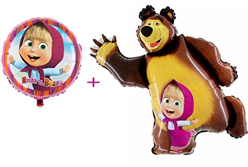 Festive Set of 2 balloons Ø 18 inch (45cm) and 35 inch (89cm) Masha and the Bear for Party Supplies and Birthday Globos Masha y el Oso -