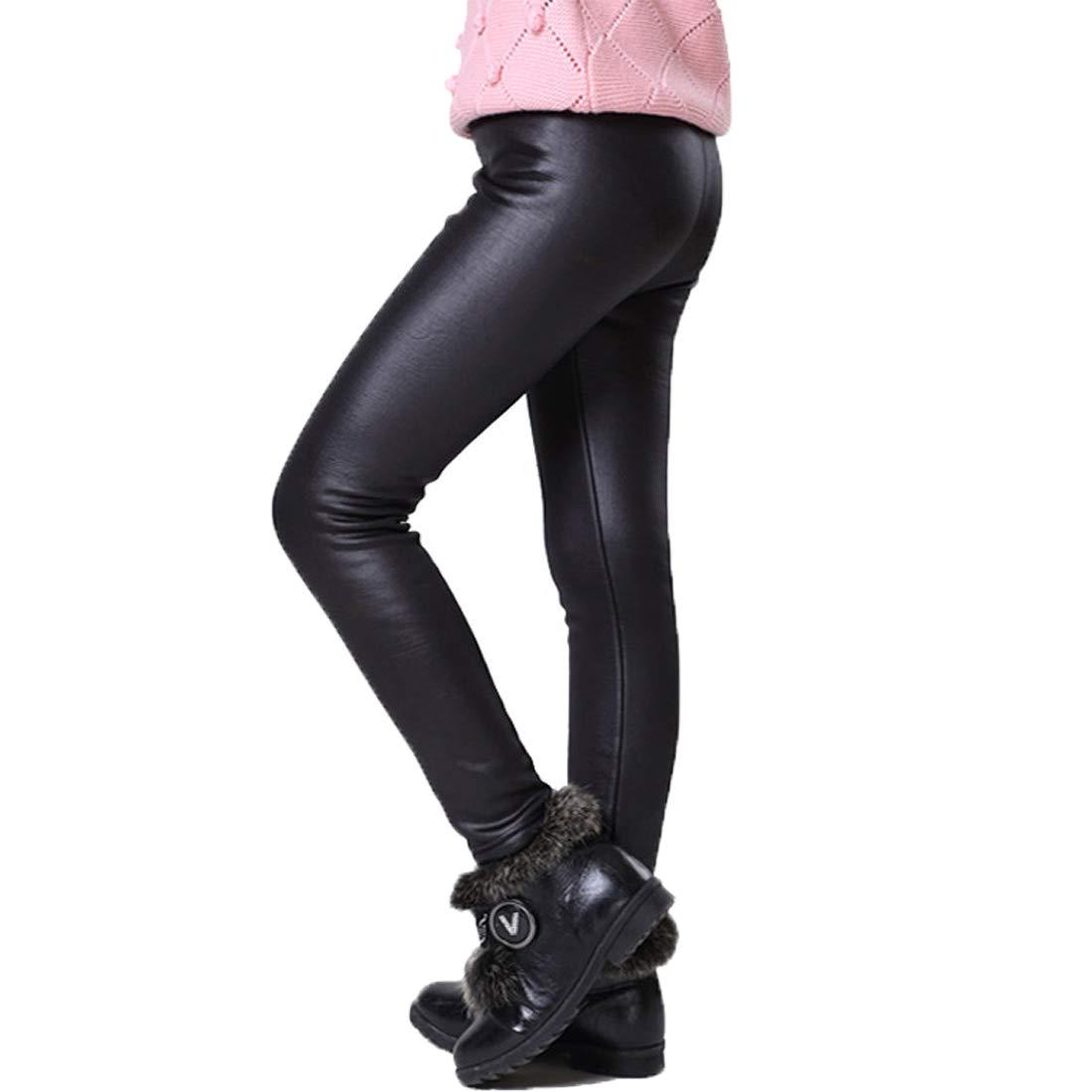 Weigou Girls Legging Pants Kids Thick Leggings Winter Warm Velvet Faux Leather Leggings Trousers