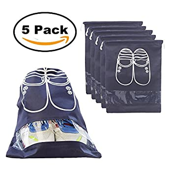 5pcs Travel Shoe Bags Dust-proof Shoe Organizer Bags with Drawstring(5pcs Navy)