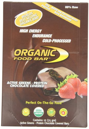Organic Food Bar, Active Greens Protein Chocolate Covered, 75g (Pack of 12)
