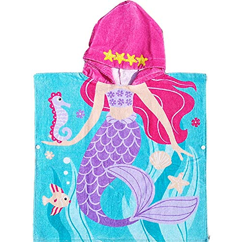 Bavilk Mermaid Hooded Towel Kids Bath Beach Towel Swimming Coverup for Girls Boys 26 x 43 -