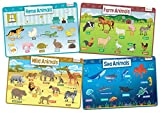 Animals Set of 4 Educational Kids Placemats includes Wild, Sea, Home and Farm Animals - Non Slip Washable
