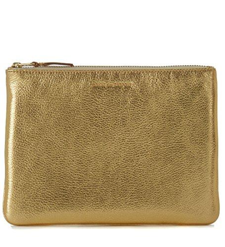 Comme Des Garçons Wallet Men's Comme Des Garçons Golden Leather Pochette Wallet Gold