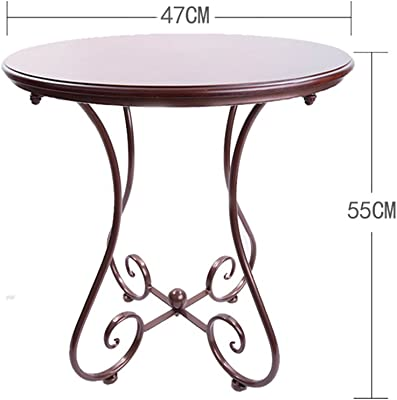 PM-Tables Simple Casual Small Round Table, European Wrought Iron Solid Wood Coffee Table, Sofa Corner Small Coffee Table, (Color : D, Size : 4755CM)
