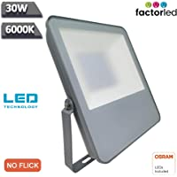 FactorLED 30W Foco Exterior Led Osram chip, Floodlight, Proyector Led IP65, Blanco Frío 6000K, iluminación profesional…
