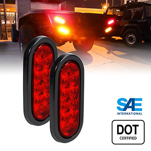 Trailer Tail Lights - Turn Stop Brake Trailer Lights for RV Jeep Trucks (DOT Certified, Grommet & Plug Included) ()