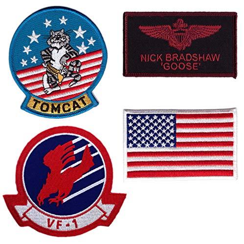 Set of 4 - Hook Goose Top Gun Movie Jumpsuit Costume Tactica