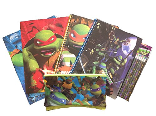 Back To School Licensed Character Set of Pocket Folders, Spiral Notebooks, Pencil Case, and Pencils (Teenage Mutant Ninja Turtles)