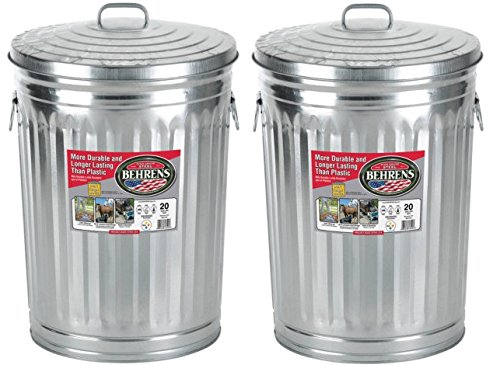 Garbage Steel Trash Can With Side Drop Handles - 20 Gallon (2) (Best Place To Mine Tin)