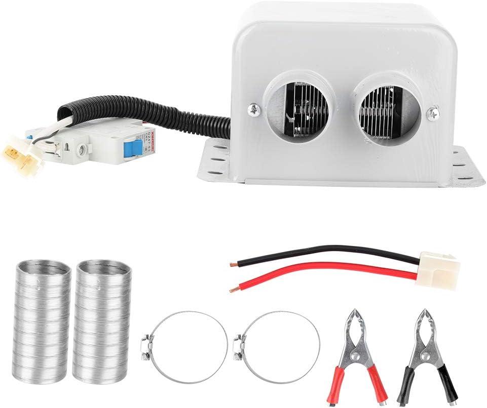 Bicaquu Calentador eléctrico de Coche de 2 Orificios de 800 W, Ventilador de calefacción de Coche con Ahorro de energía, sin Ruido para Ventana, Acampar, Viaje, Viaje autónomo(24V)