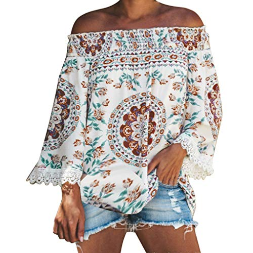 Womens Off The Shoulder Short Sleeve Tops Lace Trim Tassel Loose Shirt Blouses White ()