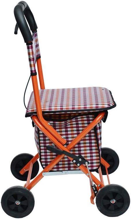 XJZHAN Rodillos Ligeros Caminante con Freno 4 Ruedas con Almacenamiento Extraíble Bolsa De Compras Grande Ayuda De Movilidad Limitada