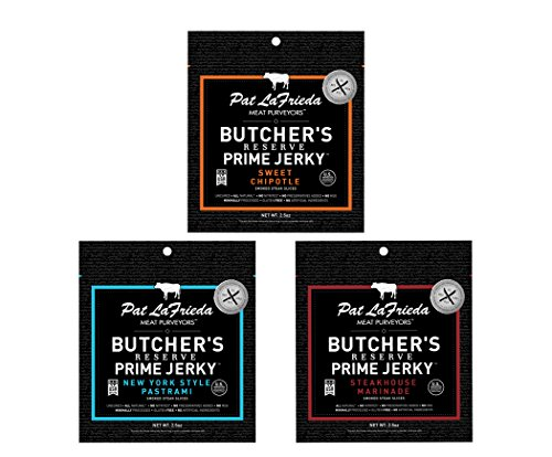 (Pat LaFrieda Butcher's Reserve Premium Dried Steak Slices Sampler Pack, Three 2.5oz. Bags)