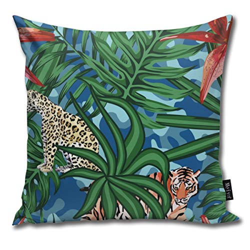 Sukuraceci Decorative Square Pillow Case,Tiger Leopard Tropical Leaves Lily Seamless Camo Background Throw Pillow Cover Pillowcases Cushion Cover Custom Pillow Cases 18x18inch