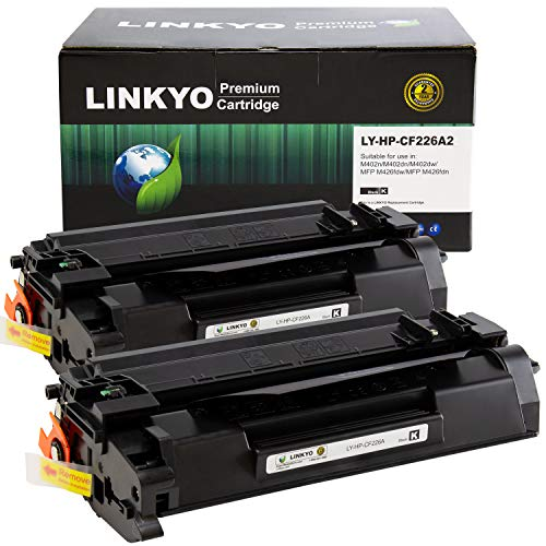 - LINKYO Compatible Toner Cartridge Replacement for HP 26A CF226A (Black, 2-Pack)