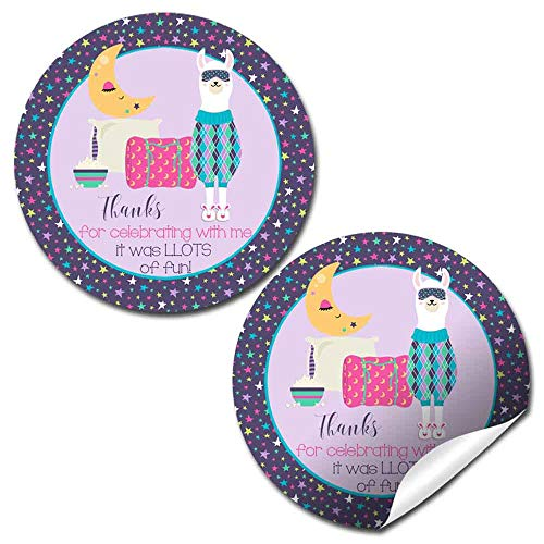 - Llamas In Pajamas Slumber Party Sleepover Themed Thank You Sticker Labels for Kids, 40 2