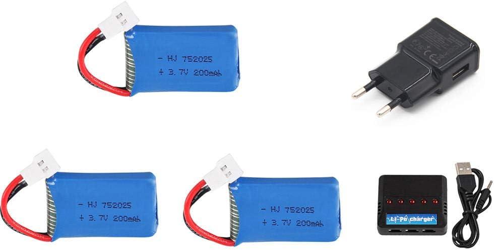 3 7V 200mAh Li-po pour Syma X4 X11 X13 RC Quadcopter Drone pi/èces de rechange 3 7V 752025 batterie et chargeur 5 en 1-CHINE/_Noir