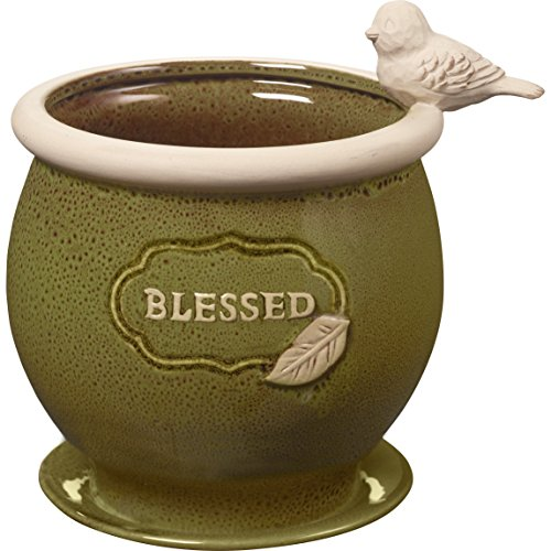 Precious Moments Garden Gifts by Blessed Olive Green Ceramic Garden Or Deck Planter Pot 8-Inch Tall By 6-Inch Diameter 185014