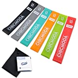CHICMODA Exercise Resistance Loop Bands Set of 6, Natural Latex Workout Bands Fitness Equipment with Carry Bag for Legs Butt Arms Yoga Pilates Physical Therapy - 12 inch
