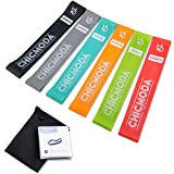 Exercise Resistance Loop Bands Set of 6, CHICMODA 100% Premium Natural Latex Workout Bands Fitness Equipment with Carry Bag for Legs Butt Arms Yoga Pilates Physical Therapy - 12' inch
