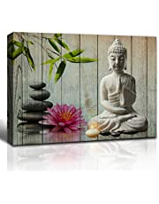 The Melody Art budas Painting Buddha Statue Lotus Flower Bamboo and Black Rock Wooden Wall Decorations Canvas Wall Art 16x24 inch, Framed, 1 Panel