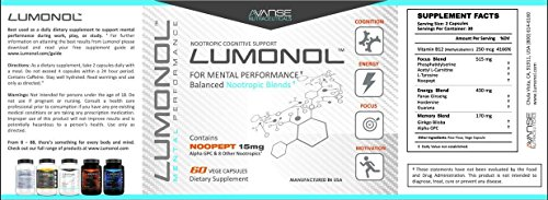 Lumonol Original (60ct) Elevate Overall Cognitive Performance, Upgrades Your Memory, Focus, Processing Speed and Overall Brain Functions. Featuring The World's Most Effective Nootropic with Potency by Lumonol (Image #1)