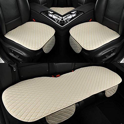 Seat Cover 5 Seats 3piece/Set Car Seat Cover Linen Fabri Frt Rear Flax Cushi Breathable Protector Mat Pad Four Seas Auto Accessories