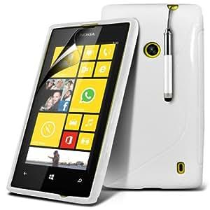 (Blanco) Nokia Lumia 520 / 525 Protección onda S Línea Gel piel cubierta retráctil Capacative Pantalla Táctil Lápiz Óptico & 6 Pack Protector de pantalla LCD Protector de Spyrox