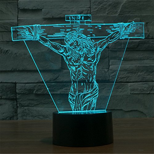 3D Jesus Lamp, Optical Illusion Night Light for Nursery / Decor / Bedroom, 7 Colors Changing Toys and Gifts for Kids / Birthday by YKL (Jesus Light)
