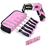 Pink Power 3.6 Volt Rechargeable Cordless Electric Screwdriver Kit and 6 Piece Handheld Screwdriver Set