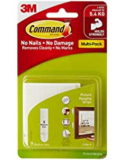 3M Command Medium Picture Hanging Strips, White, 9 Medium Sets (Holds Up to 5.4kg)