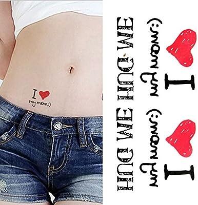 Oottati Tatuajes Temporales Inglés I Love Mom Hug Me (Juego De 2 ...