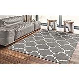 """Ottomanson Royal Collection Contemporary Moroccan Trellis Design Area Rug, 5'3"""" X 7'0"""", Grey"""