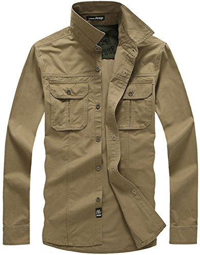 QZUnique Men's Casual Outdoor Long Sleeve Button Down Chest Pockets Cotton Shirt Khaki US 2XL/Asian - Polo Asian Us