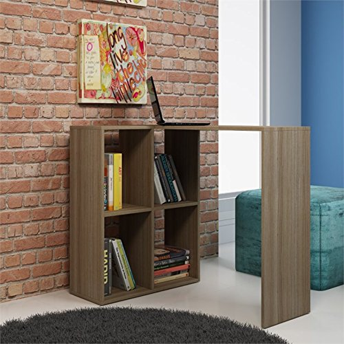Manhattan Comforts 76AMC23-MC Pescara Cubby Desk with 4 Shelves in Oak by Manhattan Comforts