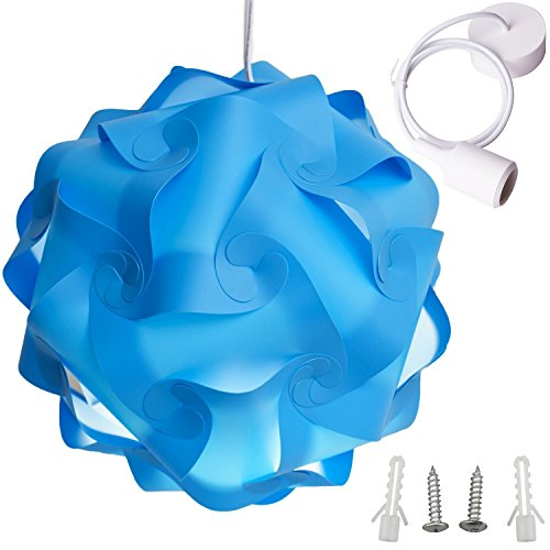 Lightingsky Ceiling Pendant DIY IQ Jigsaw Puzzle Lamp Shade Kit With 40  Inch Hanging Cord (Blue, XL  16 Inch)