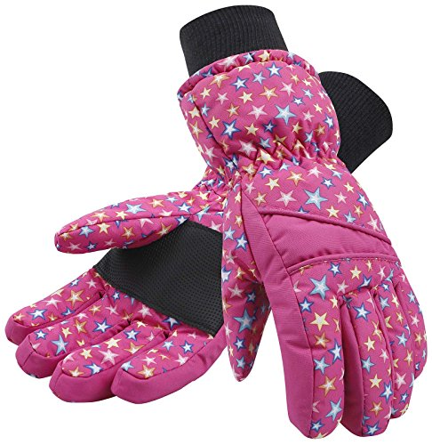 Lullaby Kids Ski Gloves Waterproof Kids Thinsulate Lined Winter Snow Gloves S