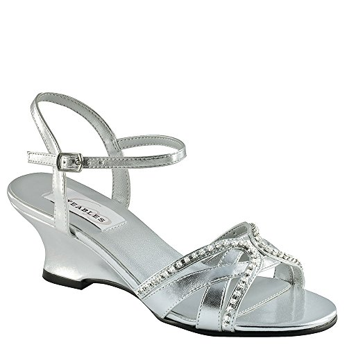 Dyeables Women's Peg Wedge Sandal,Silver Metallic,11 D US