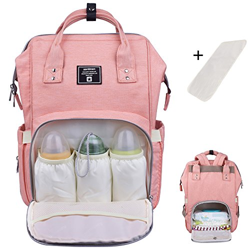 Baby Diaper Bag Backpack Multi-Function Waterproof Travel Nappy Tote Bags Large Capacity Creative Fashion Package For Both Mon&Dad //Orange-Pink (Burberry Wallet Men)