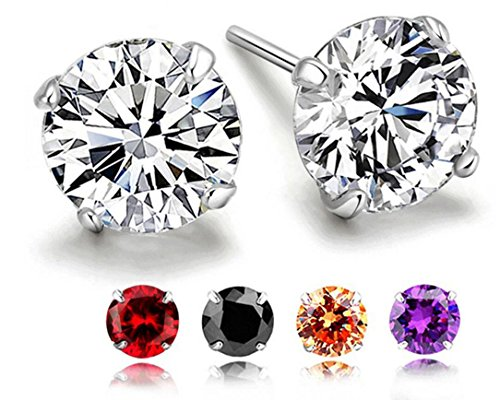 RLD Jewelry 18K Gold Plated S925 Silver Brilliant Cut Simulated Diamond CZ Stud Earrings Back to School (5 Pairs in 6mm) by RLD Jewelry (Image #5)