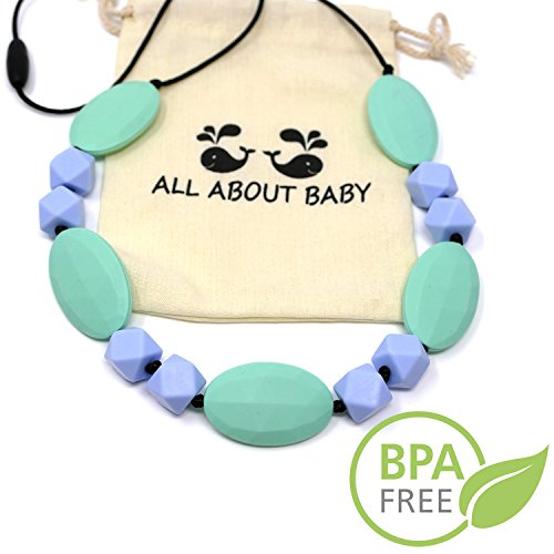 Turquoise Baby Teether Necklace For Mom To Wear - BPA - Date Necklace Turquoise