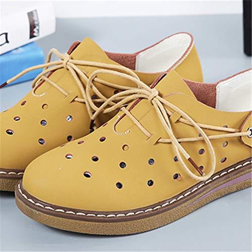 8e2e32127fa4e ... Chaussures Daim Hiver Cuir Jaune de Plat Orteils Chaussures Mocassins  8517 Bottes Automne Bateaux Lacets de ...