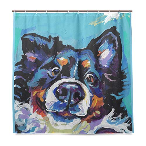 Water-Repellant Bernese Mountain Dog Shower Curtain Sets with Hooks for Bathroom, No Liner - Mountain Square Shower