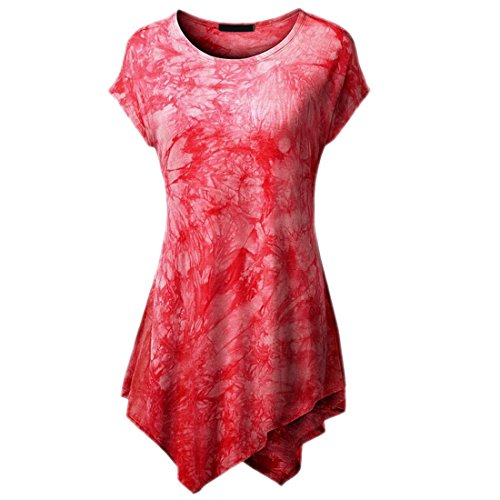 QIYUN.Z Mujeres Casquillo Casual Manga Irregular Dobladillo Túnica Vestido De Largo T-Shirts Rojo