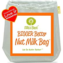 Pro Quality Nut Milk Bag - Big 12X12 Commercial Grade - Reusable Almond Milk Bag & All Purpose Strainer - Fine Mesh Nylon Cheesecloth & Cold Brew Coffee Filter - Free Recipes & Videos (3) by Ellie's Best