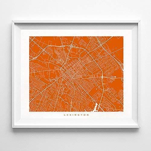Lexington Kentucky Street Road Map Home Decor Poster Urban City Hometown Wall Art Print - 70 Color Options - Unframed